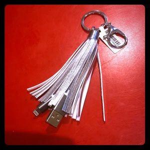 Silver Tassel Charger USB Key Chain